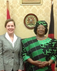 Dr. Walker with Malawi President Joyce Banda in 2013